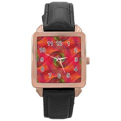 Red Spiral Swirl Pattern Seamless Rose Gold Leather Watch  by Nexatart
