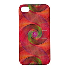 Red Spiral Swirl Pattern Seamless Apple Iphone 4/4s Hardshell Case With Stand by Nexatart
