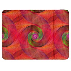 Red Spiral Swirl Pattern Seamless Samsung Galaxy Tab 7  P1000 Flip Case by Nexatart