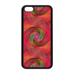 Red Spiral Swirl Pattern Seamless Apple Iphone 5c Seamless Case (black) by Nexatart