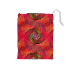 Red Spiral Swirl Pattern Seamless Drawstring Pouches (medium)  by Nexatart