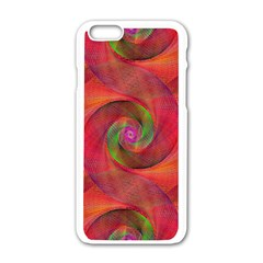 Red Spiral Swirl Pattern Seamless Apple Iphone 6/6s White Enamel Case