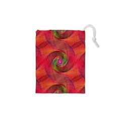 Red Spiral Swirl Pattern Seamless Drawstring Pouches (xs)