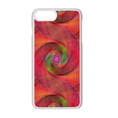 Red Spiral Swirl Pattern Seamless Apple Iphone 7 Plus White Seamless Case