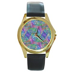 Spiral Pattern Swirl Pattern Round Gold Metal Watch