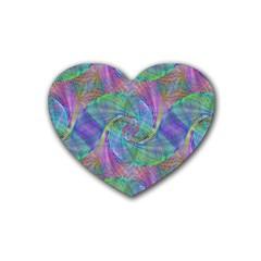 Spiral Pattern Swirl Pattern Rubber Coaster (Heart)