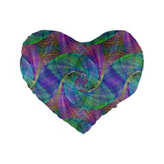 Spiral Pattern Swirl Pattern Standard 16  Premium Heart Shape Cushions