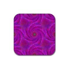 Pink Abstract Background Curl Rubber Coaster (square)