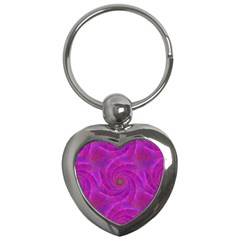 Pink Abstract Background Curl Key Chains (heart)