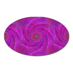 Pink Abstract Background Curl Oval Magnet
