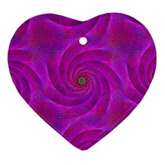 Pink Abstract Background Curl Heart Ornament (two Sides)