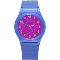 Pink Abstract Background Curl Round Plastic Sport Watch (s)