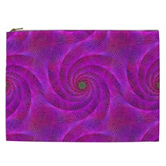 Pink Abstract Background Curl Cosmetic Bag (xxl)