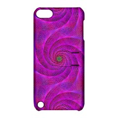 Pink Abstract Background Curl Apple Ipod Touch 5 Hardshell Case With Stand
