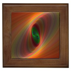 Ellipse Fractal Orange Background Framed Tiles