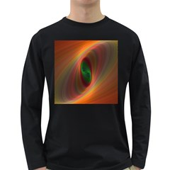 Ellipse Fractal Orange Background Long Sleeve Dark T Shirts