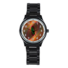 Ellipse Fractal Orange Background Stainless Steel Round Watch