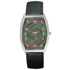 Spiral Spin Background Artwork Barrel Style Metal Watch