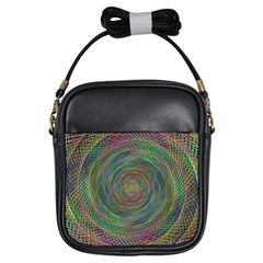Spiral Spin Background Artwork Girls Sling Bags