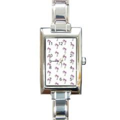 Sweet Flamingo Pattern Rectangle Italian Charm Watch by MoreColorsinLife