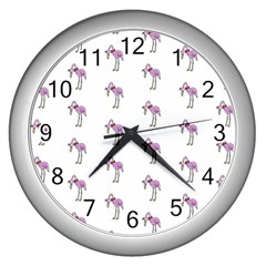 Sweet Flamingo Pattern Wall Clocks (silver)  by MoreColorsinLife