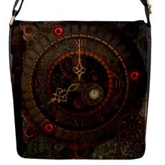 Steampunk, Awesome Clocks Flap Messenger Bag (s)