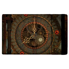 Steampunk, Awesome Clocks Apple Ipad 2 Flip Case by FantasyWorld7
