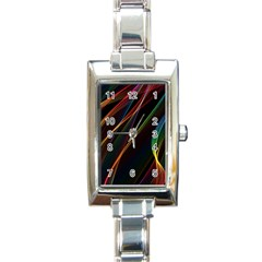 Rainbow Ribbons Rectangle Italian Charm Watch