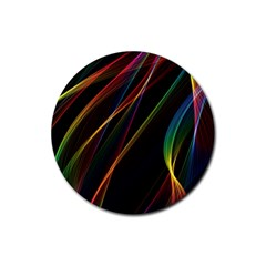 Rainbow Ribbons Rubber Coaster (round)