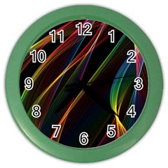 Rainbow Ribbons Color Wall Clocks