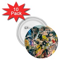Art Graffiti Abstract Vintage 1 75  Buttons (10 Pack)