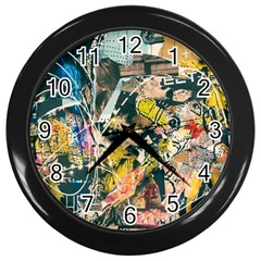 Art Graffiti Abstract Vintage Wall Clocks (black)