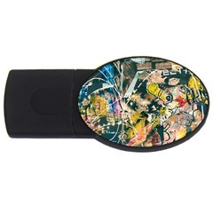 Art Graffiti Abstract Vintage Usb Flash Drive Oval (2 Gb) by Nexatart
