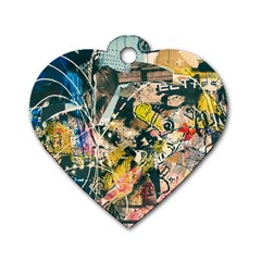 Art Graffiti Abstract Vintage Dog Tag Heart (two Sides)