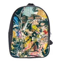 Art Graffiti Abstract Vintage School Bag (large)