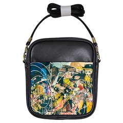 Art Graffiti Abstract Vintage Girls Sling Bags by Nexatart