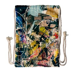 Art Graffiti Abstract Vintage Drawstring Bag (large) by Nexatart