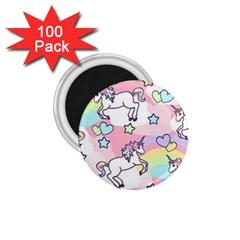Unicorn Rainbow 1 75  Magnets (100 Pack)  by Nexatart