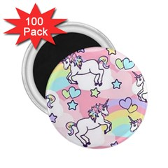 Unicorn Rainbow 2 25  Magnets (100 Pack)