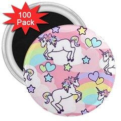 Unicorn Rainbow 3  Magnets (100 Pack)