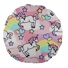 Unicorn Rainbow Large 18  Premium Flano Round Cushions by Nexatart