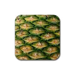 Pineapple Pattern Rubber Square Coaster (4 Pack)  by Nexatart