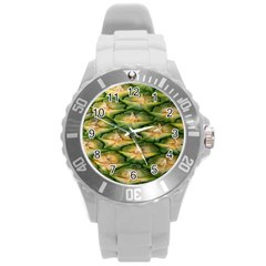 Pineapple Pattern Round Plastic Sport Watch (l)