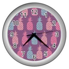 Pineapple Pattern Wall Clocks (silver)
