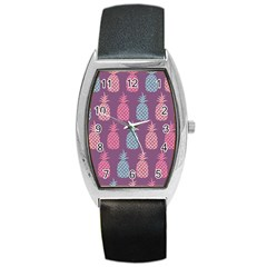 Pineapple Pattern Barrel Style Metal Watch