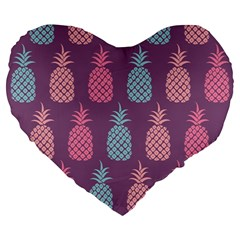 Pineapple Pattern Large 19  Premium Heart Shape Cushions by Nexatart