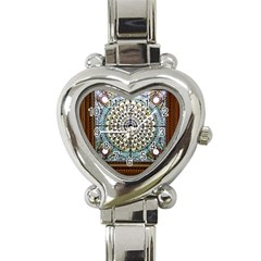 Stained Glass Window Library Of Congress Heart Italian Charm Watch by Nexatart