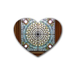 Stained Glass Window Library Of Congress Heart Coaster (4 Pack)  by Nexatart