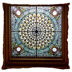Stained Glass Window Library Of Congress Large Cushion Case (one Side)