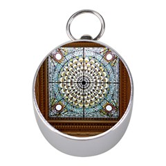 Stained Glass Window Library Of Congress Mini Silver Compasses by Nexatart